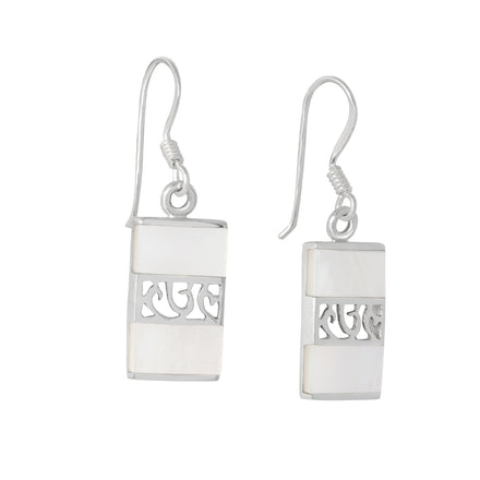 EMOP-1260-P Mother Of Pearl Inlay Earrings - Mother of Pearl | Teeda