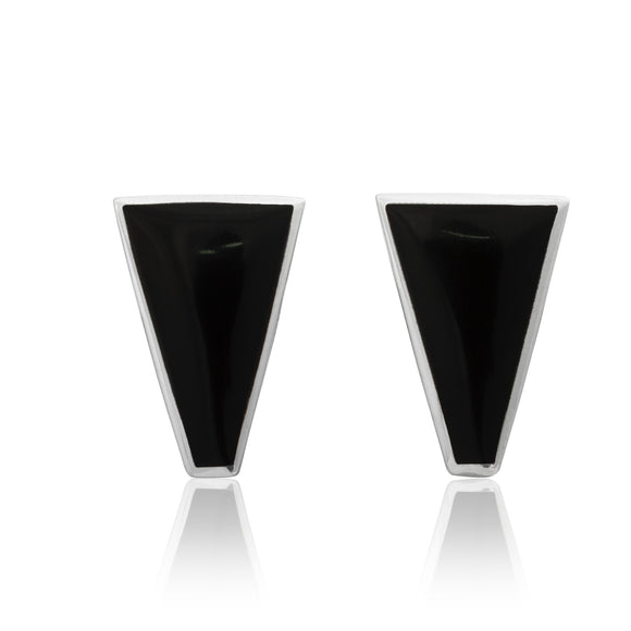 EMOP-1450-O Mother Of Pearl Inlay Earrings - Black Onyx | Teeda