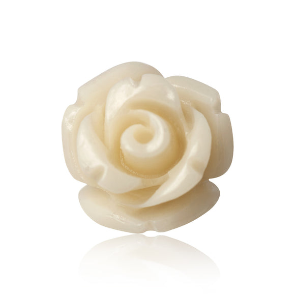 EP-7025-P Rose Stud Earrings 8mm - Pearl White | Teeda