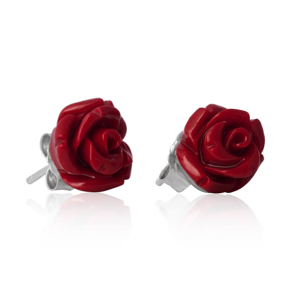 EP-7025 Rose Stud Earrings 8mm | Teeda