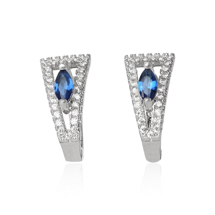 EZ-1071-BS Leverback Micropave Cubic Zirconia Earrings - Blue Sapphire | Teeda