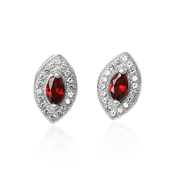 EZ-1079 Micropavé Cubic Zirconia Earrings - Garnet | Teeda