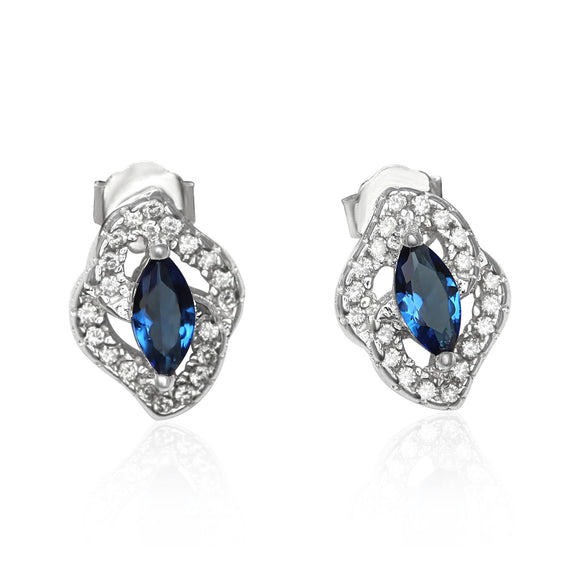 EZ-1081 Micropavé Cubic Zirconia Earrings - Blue Sapphire | Teeda