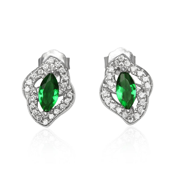 EZ-1081 Micropavé Cubic Zirconia Earrings - Emerald | Teeda