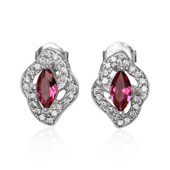 EZ-1081 Micropavé Cubic Zirconia Earrings - Ruby | Teeda