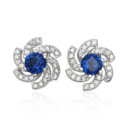 EZ-1084-BS Galaxy Micropave Cubic Zirconia Earrings - Blue Sapphire | Teeda