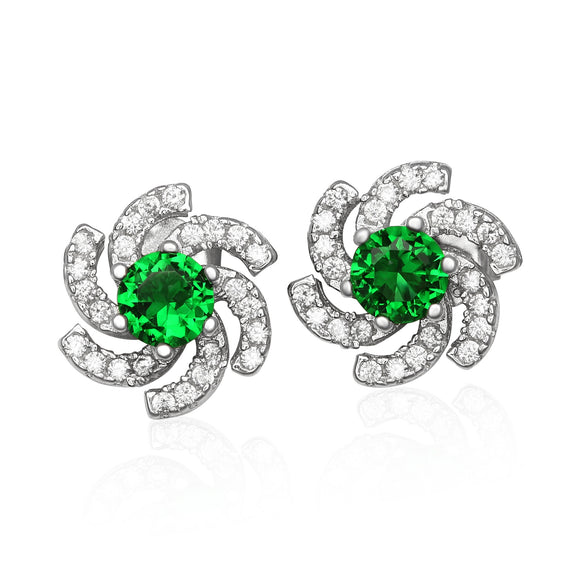 EZ-1084-E Galaxy Micropave Cubic Zirconia Earrings - Emerald | Teeda