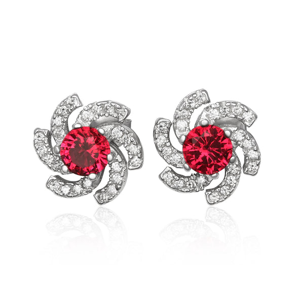 EZ-1084-SR Galaxy Micropave Cubic Zirconia Earrings - Ruby | Teeda