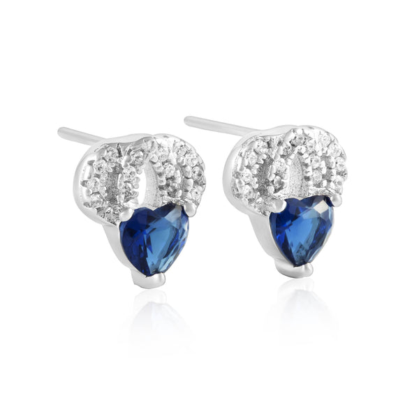 EZ-1087 Heart Micropavé Cubic Zirconia Earrings