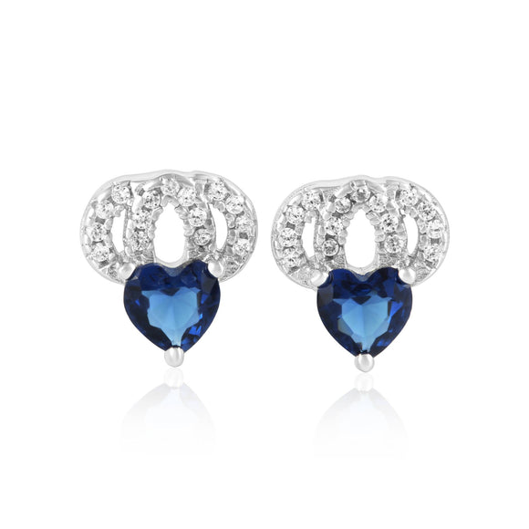 EZ-1087 Heart Micropavé Cubic Zirconia Earrings - Blue Sapphire | Teeda