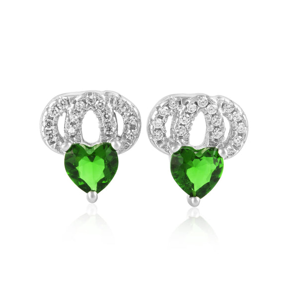 EZ-1087 Heart Micropavé Cubic Zirconia Earrings - Emerald | Teeda