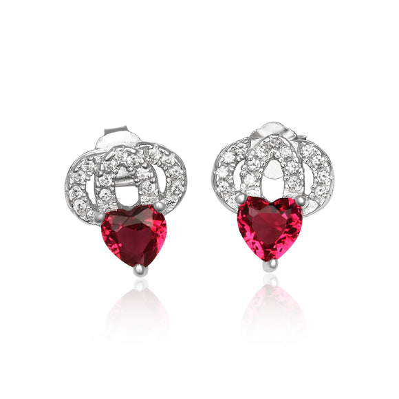 EZ-1087 Heart Micropavé Cubic Zirconia Earrings - Ruby | Teeda