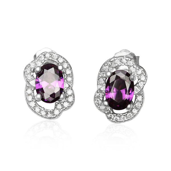 EZ-1090-AM Micropave Cubic Zirconia Earrings - Amethyst | Teeda