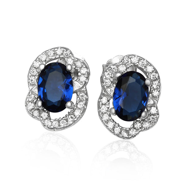 EZ-1090-BS Micropave Cubic Zirconia Earrings - Blue Sapphire | Teeda