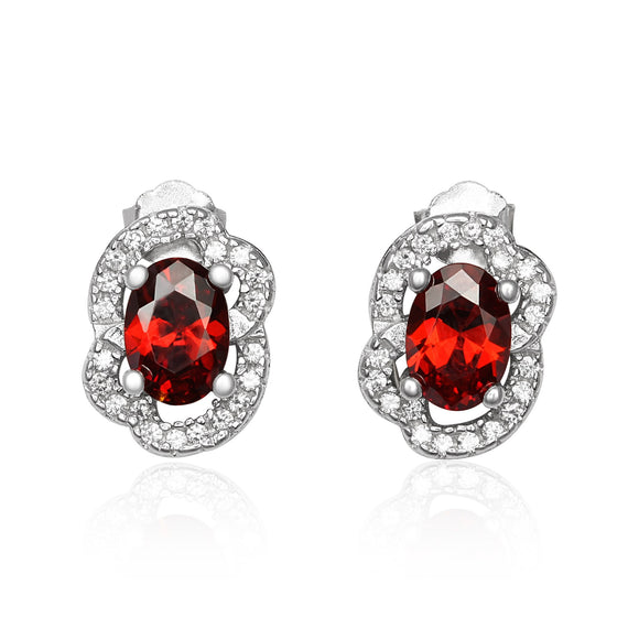 EZ-1090-GG Micropave Cubic Zirconia Earrings - Garnet | Teeda