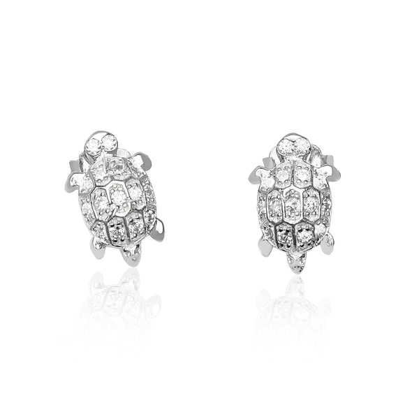 EZ-1093 Cubic Zirconia Turtle Earrings | Teeda