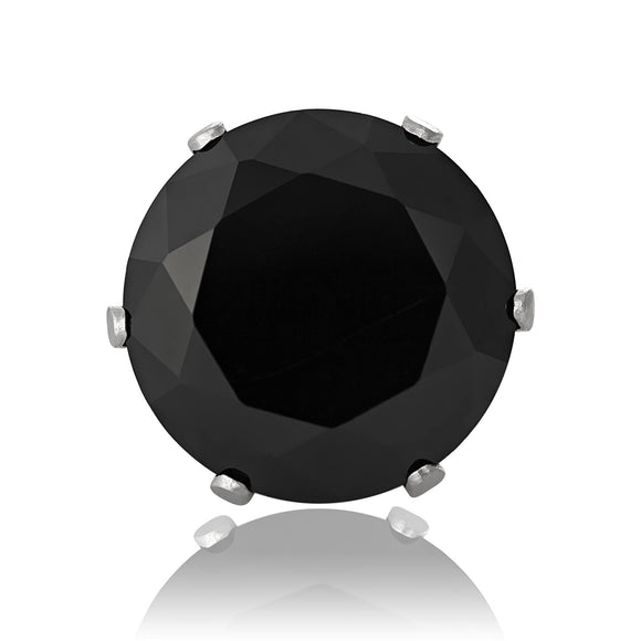 EZ-2010-B Round CZ Stud Earrings 2 5mm - Black | Teeda
