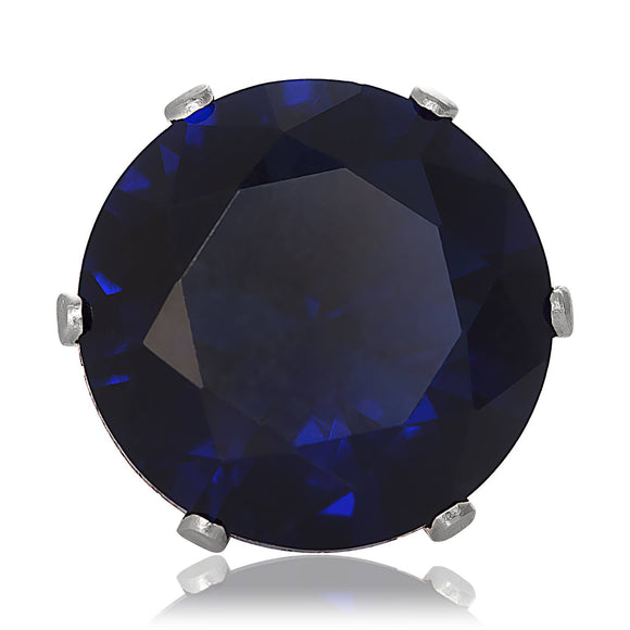 EZ-2010-BS Round CZ Stud Earrings 2 5mm - Blue Sapphire | Teeda