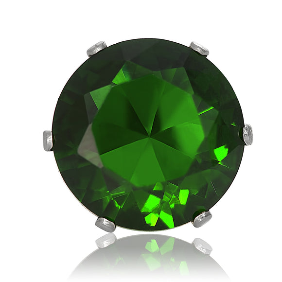EZ-2010-E Round CZ Stud Earrings 2 5mm - Emerald | Teeda