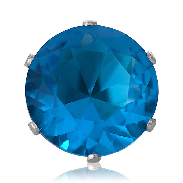 EZ-2060-BZ Round CZ Stud Earrings 7mm - Blue Zircon | Teeda
