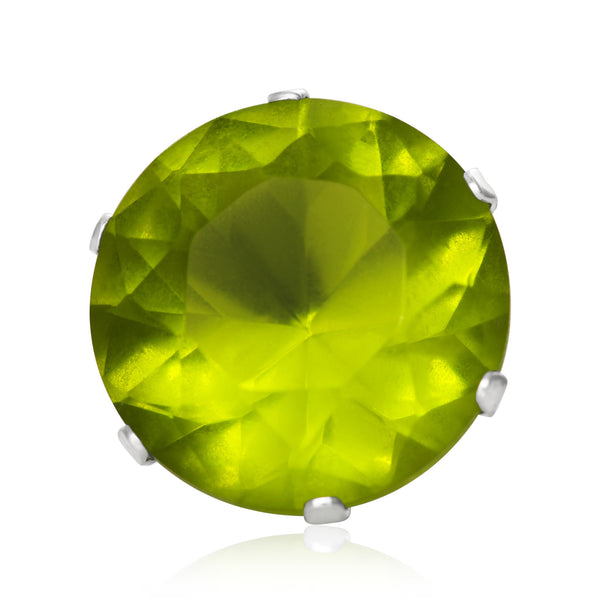 EZ-2060-PE Round CZ Stud Earrings 7mm - Peridot | Teeda