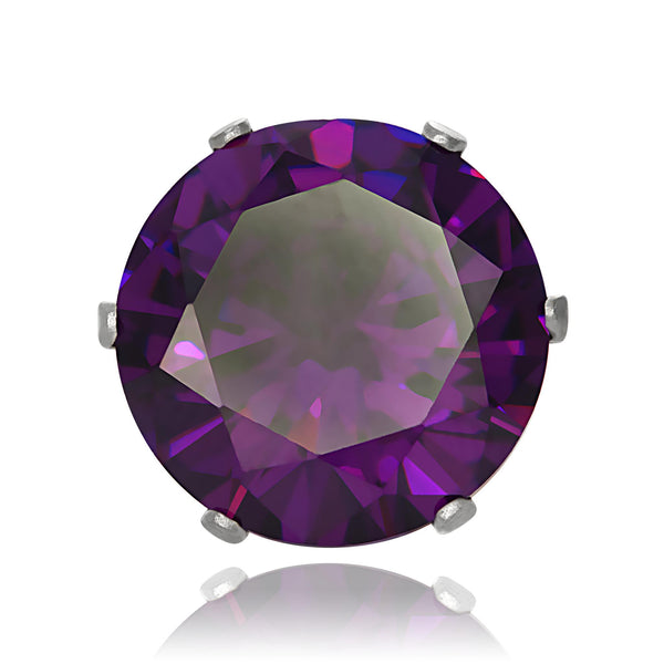 EZ-2080-AM Round CZ Stud Earrings 9mm - Amethyst | Teeda