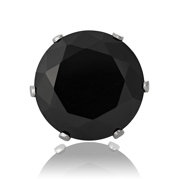 EZ-2080-B Round CZ Stud Earrings 9mm - Black | Teeda