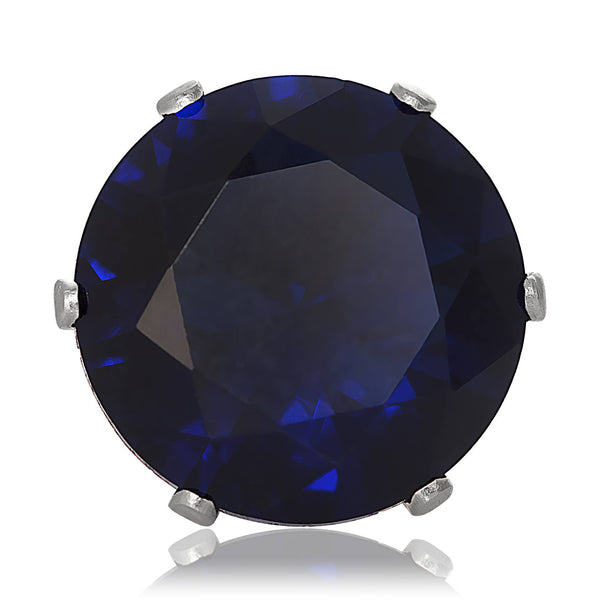 EZ-2080-BS Round CZ Stud Earrings 9mm - Blue Sapphire | Teeda