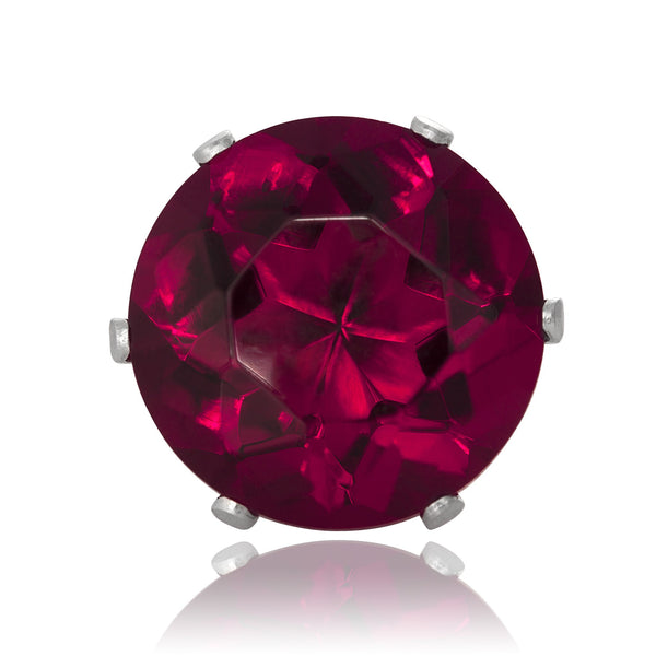 EZ-2080-SR Round CZ Stud Earrings 9mm - Ruby | Teeda