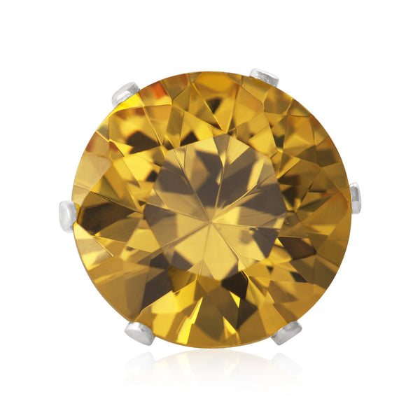 EZ-2080-Y Round CZ Stud Earrings 9mm - Yellow Citrine | Teeda
