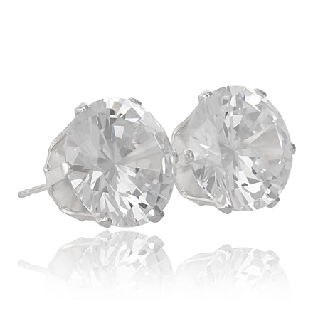 EZ-2080 Round CZ Stud Earrings 9mm | Teeda
