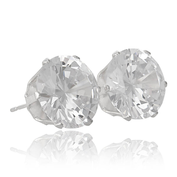 EZ-2110 Round CZ Stud Earrings 12mm | Teeda