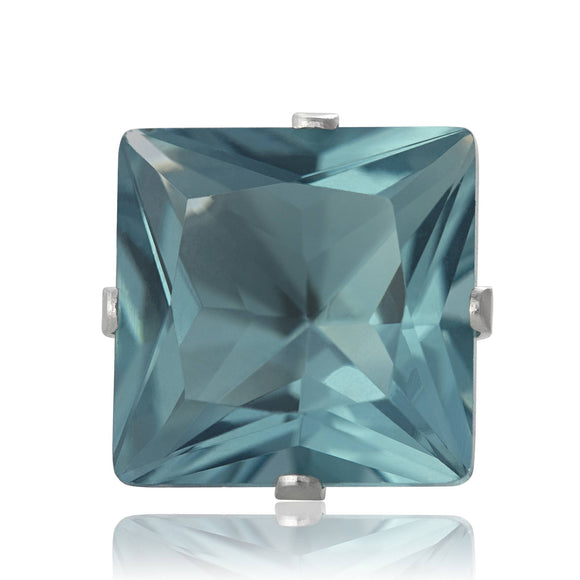 EZ-2140-AQ Square CZ Stud Earrings 5mm - Aqua | Teeda