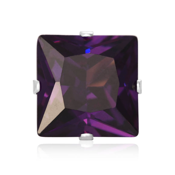EZ-2175-AM Square CZ Stud Earrings 9mm - Amethyst | Teeda