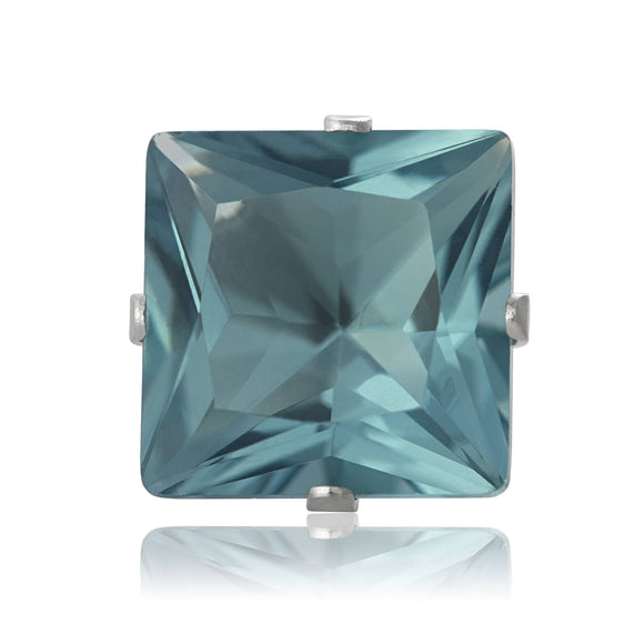 EZ-2175-AQ Square CZ Stud Earrings 9mm - Aqua | Teeda