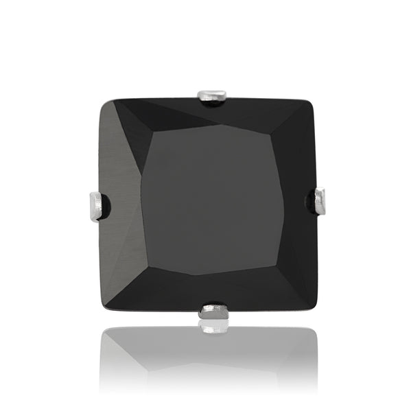 EZ-2175-B Square CZ Stud Earrings 9mm - Black | Teeda