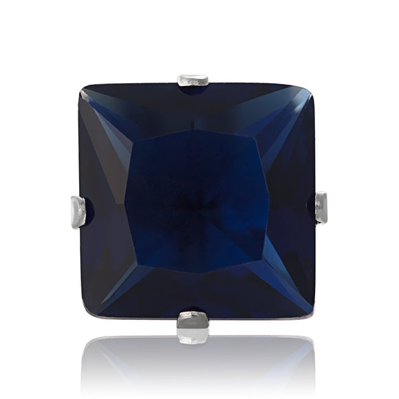 EZ-2175-BS Square CZ Stud Earrings 9mm - Blue Sapphire | Teeda