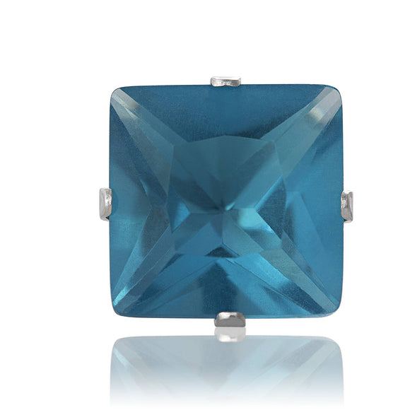 EZ-2175-BZ Square CZ Stud Earrings 9mm - Blue Zircon | Teeda