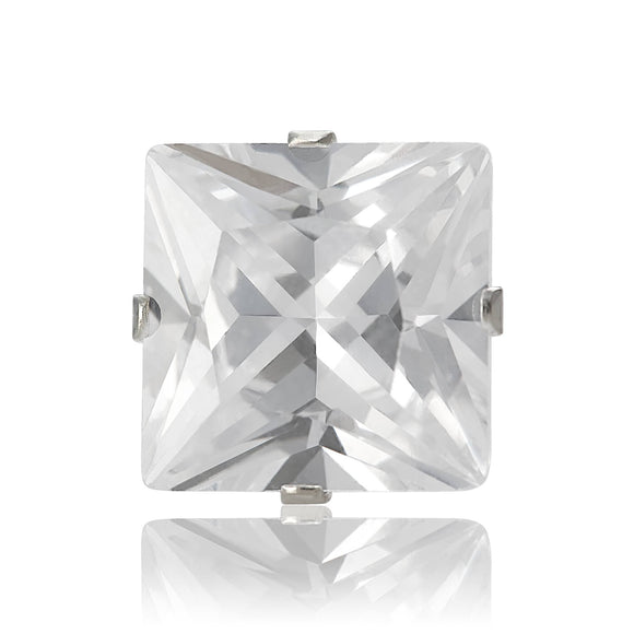 EZ-2175-C Square CZ Stud Earrings 9mm - Clear | Teeda