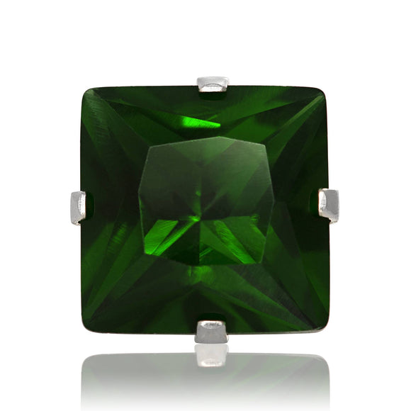 EZ-2175-E Square CZ Stud Earrings 9mm - Emerald | Teeda