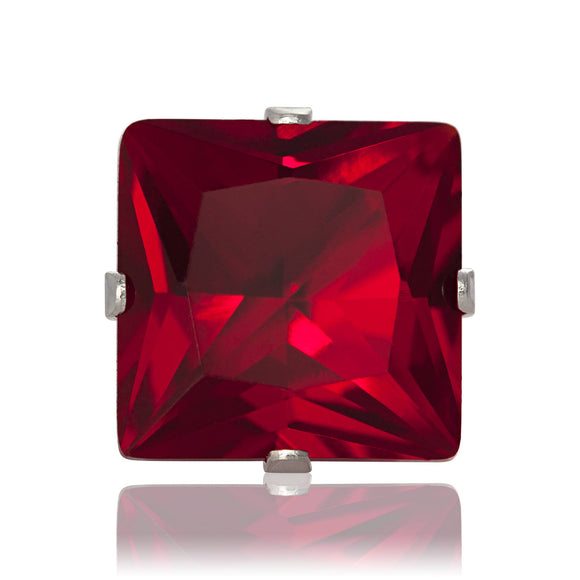 EZ-2175-GG Square CZ Stud Earrings 9mm - Garnet | Teeda