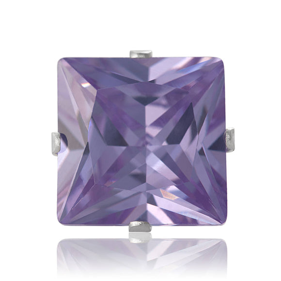 EZ-2175-L Square CZ Stud Earrings 9mm - Lavender | Teeda