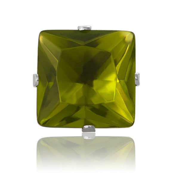 EZ-2175-PE Square CZ Stud Earrings 9mm - Peridot | Teeda