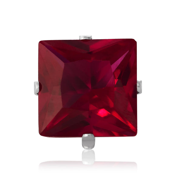 EZ-2175-SR Square CZ Stud Earrings 9mm - Ruby | Teeda
