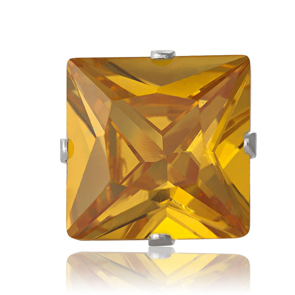 EZ-2175-Y Square CZ Stud Earrings 9mm - Yellow Citrine | Teeda