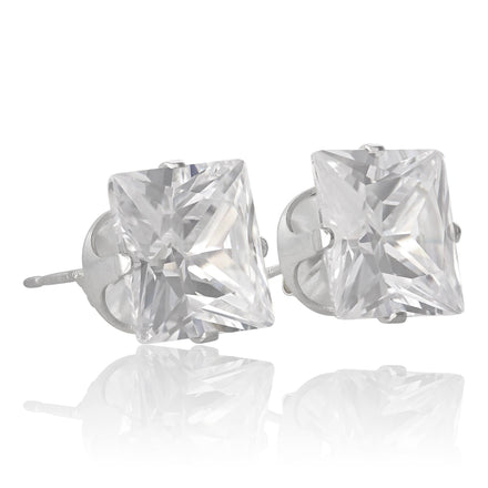 EZ-2175 Square CZ Stud Earrings 9mm | Teeda