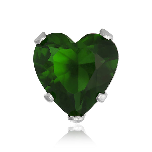 EZ-2180-E Heart CZ Stud Earrings 4mm - Emerald | Teeda