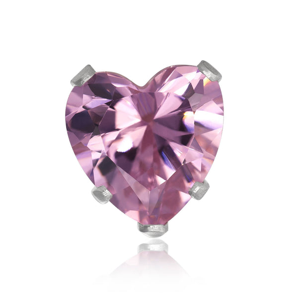 EZ-2180-P Heart CZ Stud Earrings 4mm - Pink | Teeda