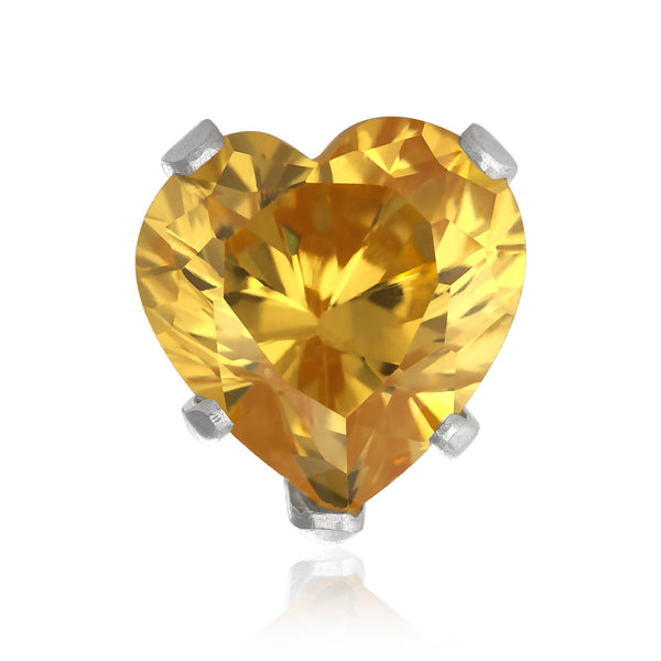 EZ-2180-Y Heart CZ Stud Earrings 4mm - Yellow Citrine | Teeda