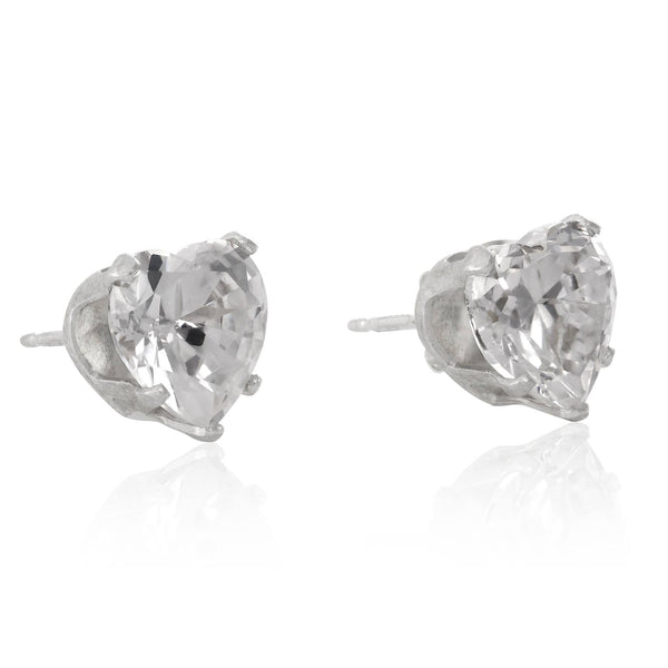 EZ-2180 Heart CZ Stud Earrings 4mm | Teeda